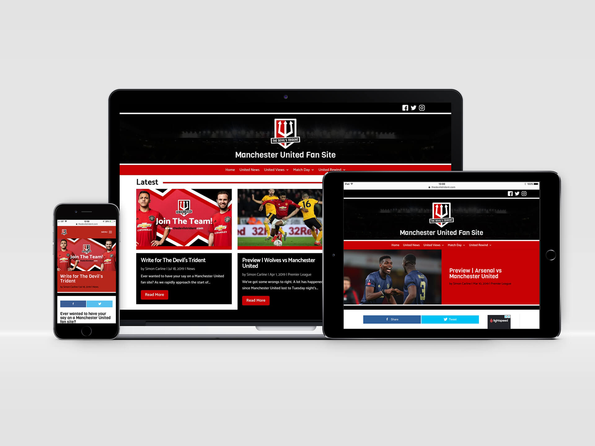 The Devil's Trident Website Design