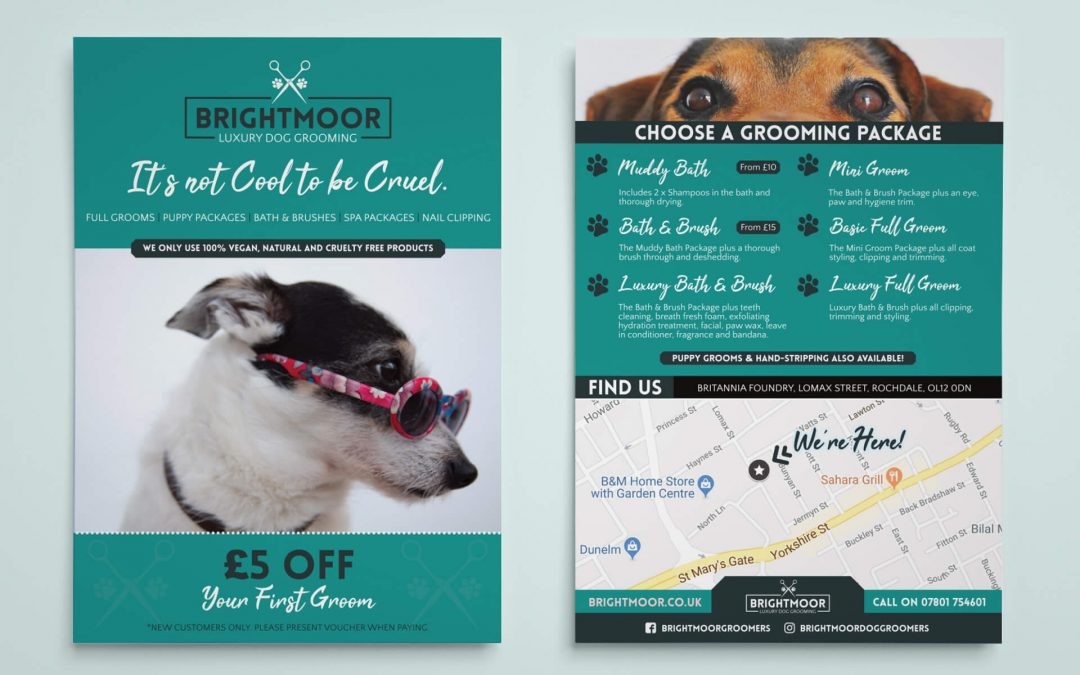 Brightmoor Luxury Dog Grooming – A5 Menu Leaflet
