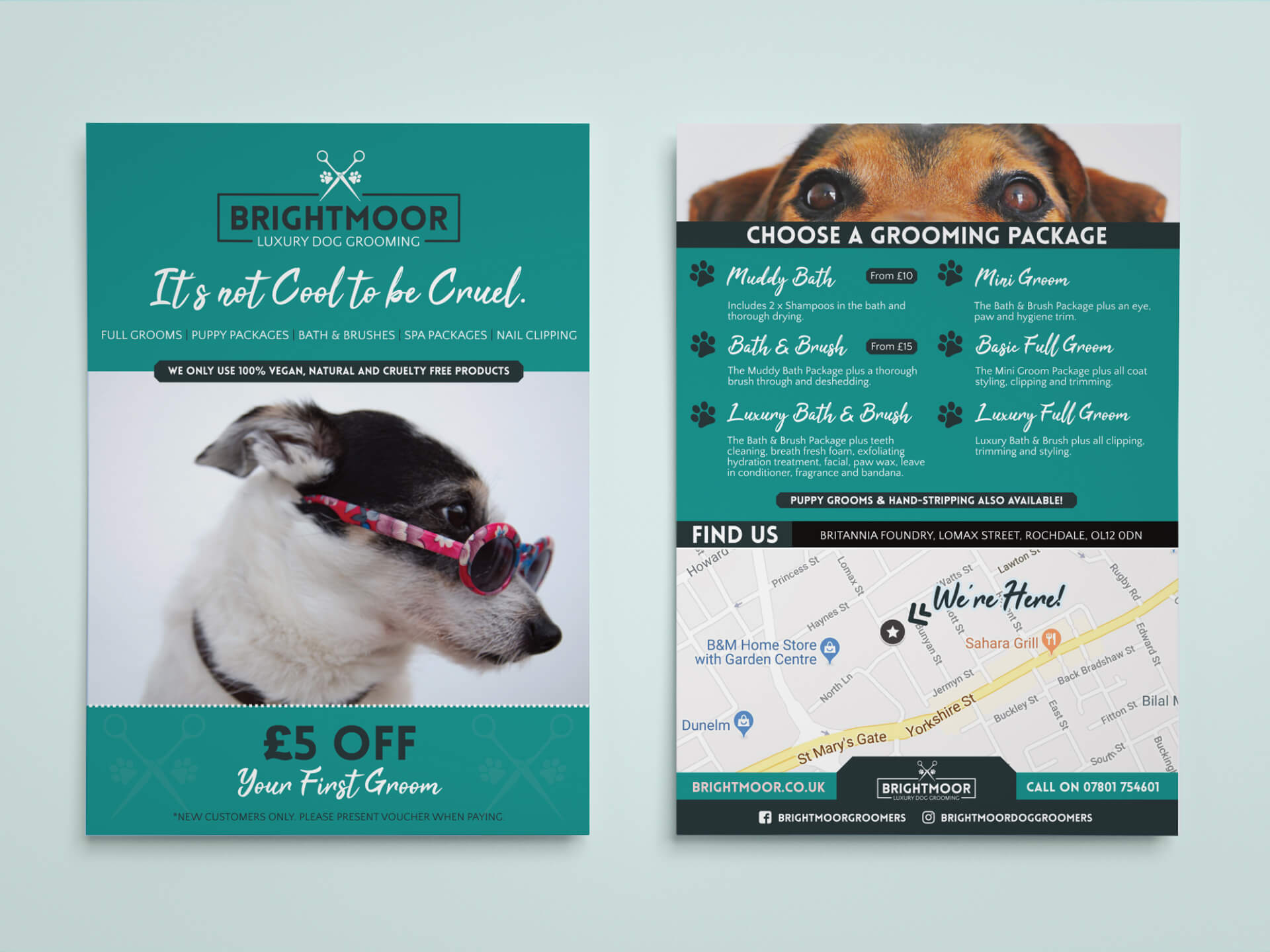 Brightmoor Luxury Dog Grooming A5 Leaflet