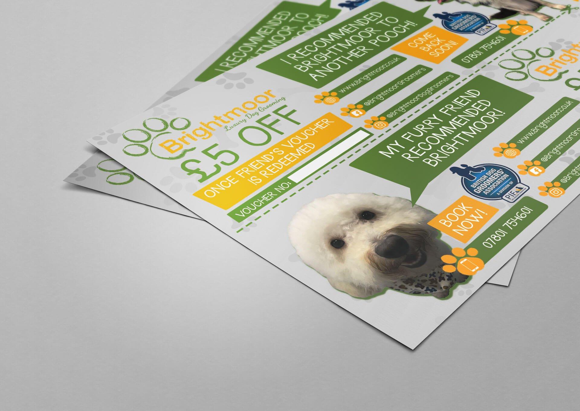 Brightmoor Luxury Dog Grooming Leaflet Design